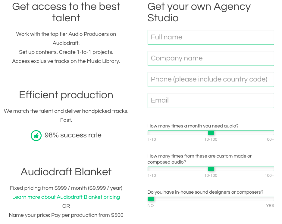 Agency Studio Signup Screen